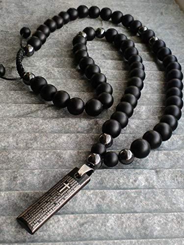 Herren Halskette mit Onyx Halbedelstein Hämatit Anhänger Fliese mit gebet Schmuck Stahl Handmade/ALLA