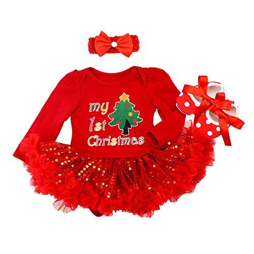 FYMNSI Bebé Niña Mi Primera Navidad Vestido Árbol de Navidad Calcetines Reno...