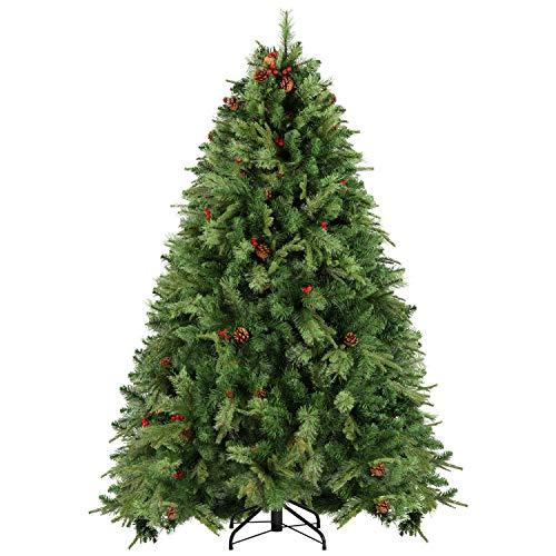 SALCAR Weihnachtsbaum künstlich 220cm mit 1298 Astspitzen, Tannenbaum künstlich mit vordekorierten Tannenzapfen und Roten Beeren inkl. Christbaum-Ständer, Weihnachtsdeko - grün 2.2m