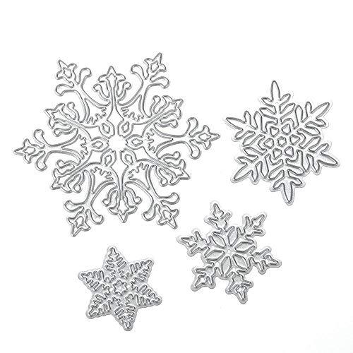 Aeromdale Scrapbooking Troqueles de corte 4 unids Copo de nieve de Navidad Troqueles de corte Plantillas de troquelado DIY Papel Álbum de tarjetas Craft Pequeños objetos prácticos