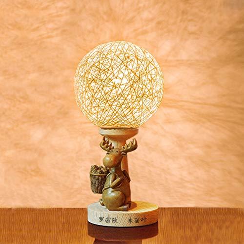 HTDZDX Lámpara de mesa de ratán de mesa de resina, regalo de boda, mesita de noche, decoración para el hogar Nuevo regalo de iluminación para la decoración del hogar - 14.2x6.7in