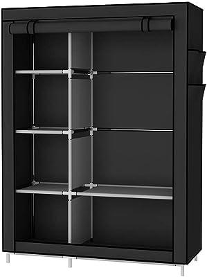 EZ Life Storage Wardrobe (105 cm x 45 cm x 170 cm) - Stainless Steet & Full Fabric Zipper Cover - Black
