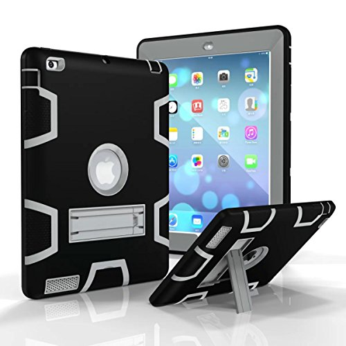 [Heavy Duty] Hybrid Full-body Holster Rugged Defender Protective Case [Dual Layer] Cover + Kickstand Plastic Silicone for 9.7inch iPad Air 2/iPad 6 (IPA2-MCM Black+Grey)