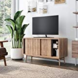 Nathan James Liam Modern Mid-Century TV Stand, Media Console or Entertainment Cabinet with Sliding Doors, Reclaimed Oak/Black