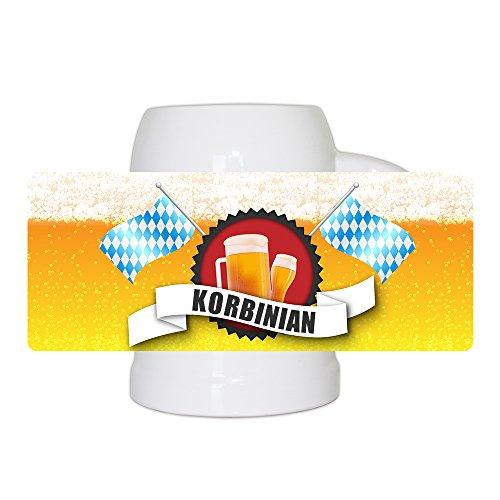 Bierkrug mit Name Korbinian und schönem Bier-Motiv mit blau-weißen Flaggen   Bier-Humpen   Bier-Seidel