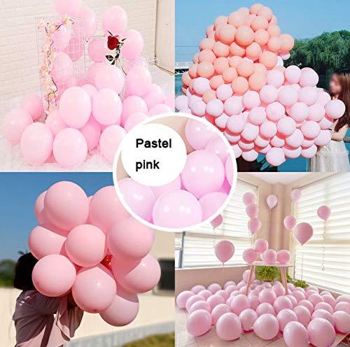 AWEIE 100 PC-Macaron Blloon Pastell Lila, Blau, Süßigkeit Farbige Naturlatexballons for Geburtstag, Hochzeit, Partydekoration Bunter Ballon-10INCH (Ballon Size : 10inch, Color : Macaron pink)