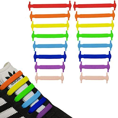 JANIRO Elastische Silikon Schnürsenkel flach | flexible schleifenlose Schuhbänder ohne Binden | Kinder & Erwachsene - farbig