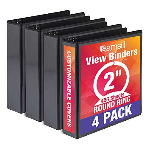 Samsill Economy 3 Ring Binder Organizer, 2 Inch Round Ring Binder, Customizable Clear View Cover, Black Bulk Binder 4 Pack (MP48560)
