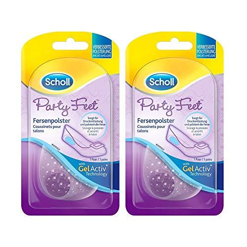 Geleinlagen zur Druckentlastung und Polsterung der Ferse 2 Paar in ultradünnem & unaufälligem Design Scholl Party Feet Fersenpolster 2x 1 Paar