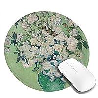 ゴッホ 花瓶のバラ かわいい マウスパッド丸型 ステッチされたエッジ 個性的 ゴム製裏面 ゲーミングマウスパッド Pc ノートパソコン オフィス用 円形 デスクマット 滑り止め 耐久性が良い おもしろいパターン
