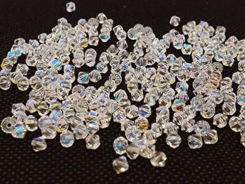 Juego de 100 Perlas de Cristal, de 3 mm, Doble Cono, Perlas checas de Cristal talladas, Cristal