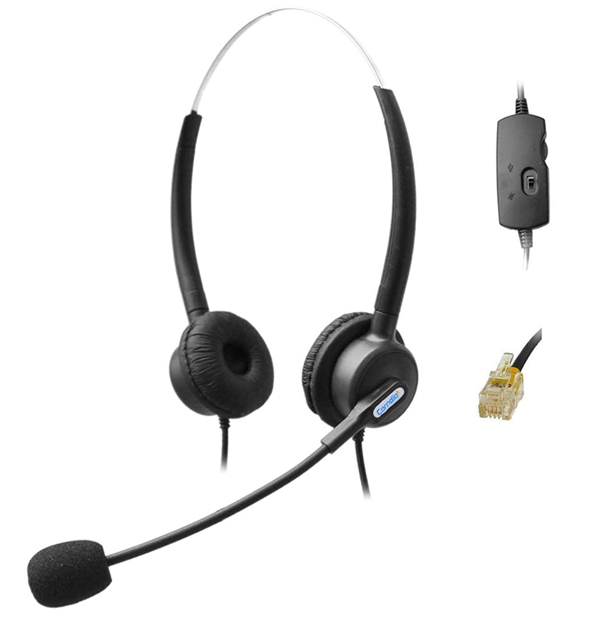 Comdio H203VGA Corded RJ Headset with Flexible Noise Canceling Mic + Volume Mute Control for Snom 320 870 Panasonic KX-T Series Avaya Cisco Grandstream Yealink T48G Huawei Office Telephone IP Phones