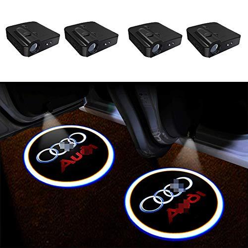 TGCF LED Auto Projektor, 4 Stück Autotür Willkommen Logo Light Muster Schatten Licht, Universal Drahtlose Wireless Magnetisch Sensor Schatten Logo Licht Für Autotür,Audi