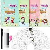 4 Cuadernos de Práctica Mágico de Inglés Pastas de Escritura Mágicas Cuaderno de Copiar Rastreo de Número Matemáticas Alfabeto Dibujo con 12 Plantillas, Bolígrafos para Niños Pequeños