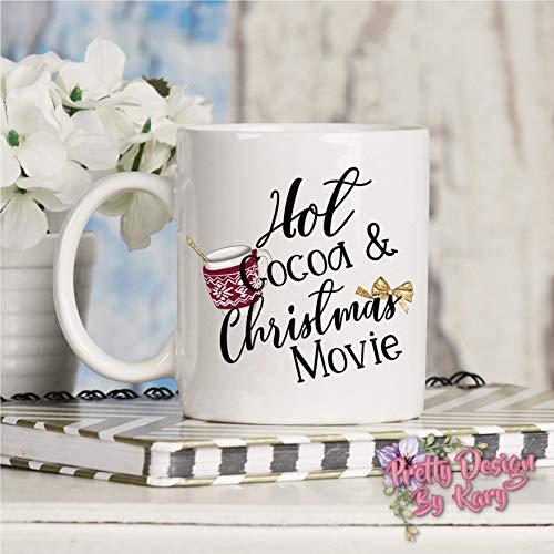 N\A Taza de Navidad Taza de películas navideñas y Chocolate Caliente Taza Personalizada de Navidad Taza de café de Vacaciones Taza de café Taza Divertida de Navidad Cacao