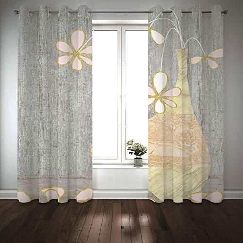 Kihomedy Cortinas opacas para dormitorio, pintura de flores en un jarrón rosa amarillo para niños cortinas de panel para dormitorio 2014 x 252 cm, 2 paneles
