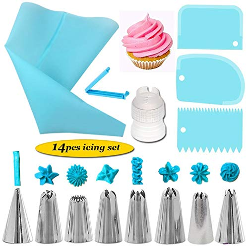 Best Price Zhuygba 14Pcs Cake Decorating Supplies Sets with Stainless Icing Tips, Reusable Pastry Ba...