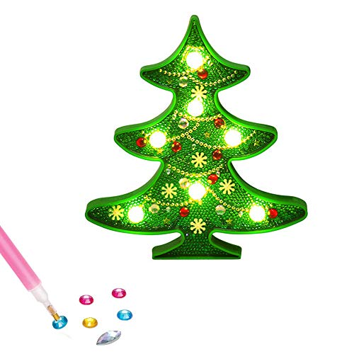 BEIGUO Christmas Crafts Diamond Painting with LED Lights Decorate Your Own Christmas Tree Night Light Crafts and Arts Set,Christmas Toys Christmas Stocking Stuffers