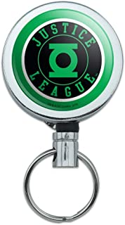 Justice League Green Lantern Athletic Logo Heavy Duty Metal Retractable Reel ID Badge Key Card Tag Holder with Belt Clip