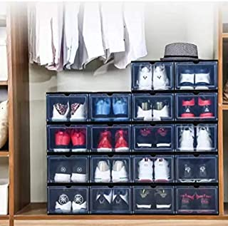 6 Pack Drop-front Shoe Box Stackable Sneaker Container Large Storage Boxes| Bulk Women and Men Closet Home Organization an...