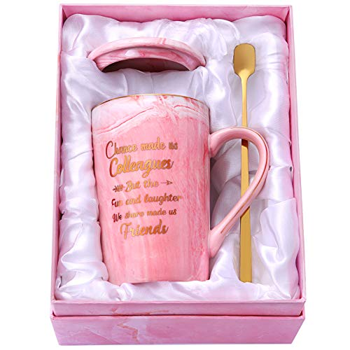 Coosilion Coworker Gifts for Women, Chance Made Us Colleagues Funny Coworker Gifts, Birthday, Going Away, Farewell Gifts, Friend Gifts for Women, Ceramic Marble Mug 14 Oz Pink