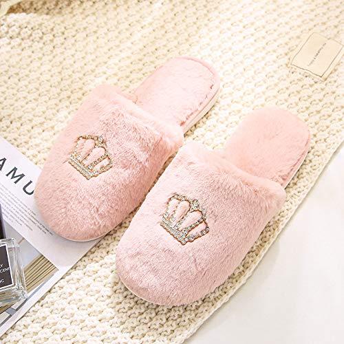 Hausschuhe Damen Baumwolle Slippers,Warm Pink Elegante Strass Krone Mute Closed-Toe Hausschuhe Baumwolle Indoor Outdoor Damen rutschfeste Sohle Gemütliche Slip-On Shose Für Frauen Mädchen Home