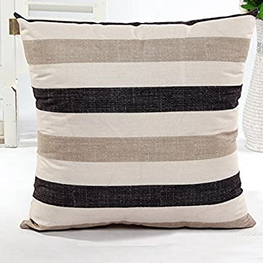 Hot Sell Striped Splice Home Body Pillowcases,Highpot Simpel Style Various Colors Square Flax Cushion Cover (Khaki)