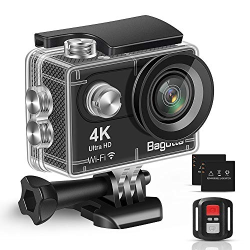 Bagotte Action Cam 4K WiFi onderwatercamera 30 m waterdicht 16 MP Ultra HD sportcamera geschikt voor reizen outdoor-sporten met 2 uitneembare batterijen en accessoires