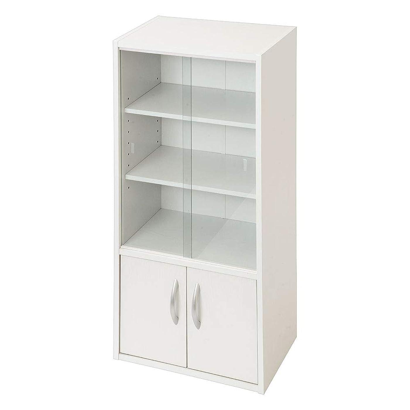 アルミニウム崩壊家具ぼん家具 木製 キャビネット ガラス 食器棚 キッチンラック ミニ食器棚 シェルフ ホワイト