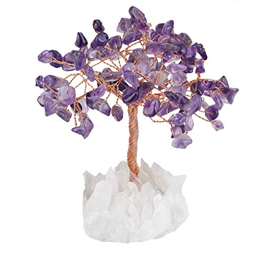 favoramulet Handmade Amethyst Crystal Tree, Natural Rock Quartz Cluster Base Bonsai Money Tree for Wealth and Luck 4.5'-5.5' Tall