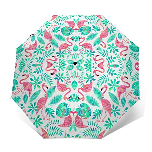 Automatischer dreifach gefalteter Regenschirm Schützen Sie Sonnenschutz Robuste winddichte leichte Regenschirme Flamingo Jungle White Mint