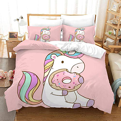 Duvet Cover Set Double (78.7x78.7 inch) Pink unicorn Bedding Printed Ultra Soft Hypoallergenic Microfiber with Zipper Closure + 2 Pillowcases 20x29.5 inch