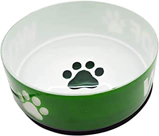 Naaz Pet Supplies Glass Anti Skid Pet Bowl for Dog | Cat | Pup | Kitten - Green