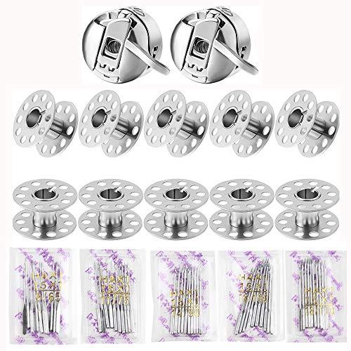 10 Piezas Bobinas de Máquinas de Coser de Metal, 2 Piezas Cajas de Bobinas de Máquina de Coser, 50 Agujas para Máquinas de Coser en 5 Tamaños, para Bordado y Costura Doméstica