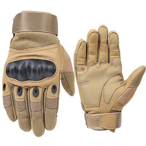 shuhong Vollfinger-motorradhandschuhe Touchscreen Männer/Frauen 3 Farben 6 Größe Outdoor-Handschuhe Für Paintball Airsoft Radfahren Camping,Khaki-XXXL