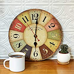 Retro Wooden Wall Clock – 12 inches – AA Battery Operated – Decorative, Colorful Style – Old Farmhouse, Barnwood, Antique, Vintage Look - Wall Art - Large Time Hands, Runs Quietly
