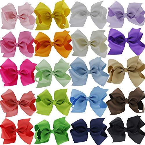 QingHan 4.5 inch Hair Bows For Girls Clips Grosgrain Ribbon Boutique bow Babies Teens Kids Toddlers Pack Of 20