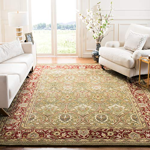 Safavieh Persian Legend Collection PL819B Handmade Traditional Light Green and Rust Wool Area Rug (5' x 8')