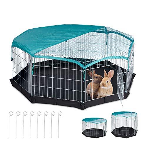 Relaxdays Freilaufgehege, Boden, Abdeckung, 8 Gitter, Kaninchen, Meerschweinchen, Gehege HBT 60,5 x 160 x 160 cm, Silber, S