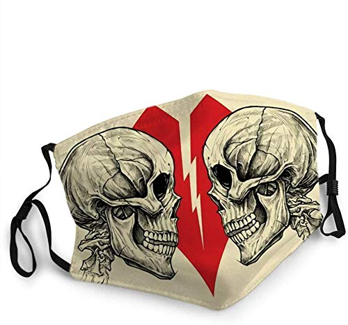 Face Scarf,Couple Skulls And Broken Heart Symbol Mouth Protection,Lightweight Mouth Scarf,20x15cm