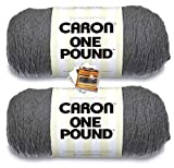Caron One Pound Yarn - 2 Pack with Patterns (Medium Grey Mix)