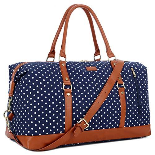 BAOSHA Canvas Groß Reisetasche Segeltuch Handgepäck Travel Duffel Carry On Bag Weekender Tasche for Damen & Frauen HB-14 (Blau Tupfen)