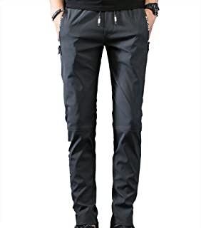 Cool and Breathable Elastic Waterproof Pants Hiking Pants for Outdoor Sport Men's Summer Dark Green Quick Dry Pants Cloth (Size : L)