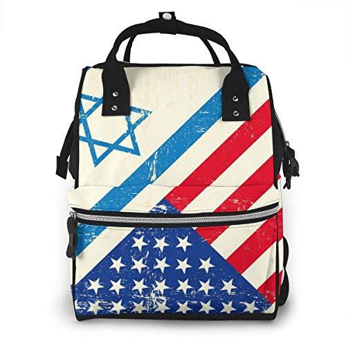 Vlag van Israël en de VS luiertas Mode Waterdichte Multi-Functie Reizen Rugzak Grote luiertassen Mummy Rugzak voor Baby Care