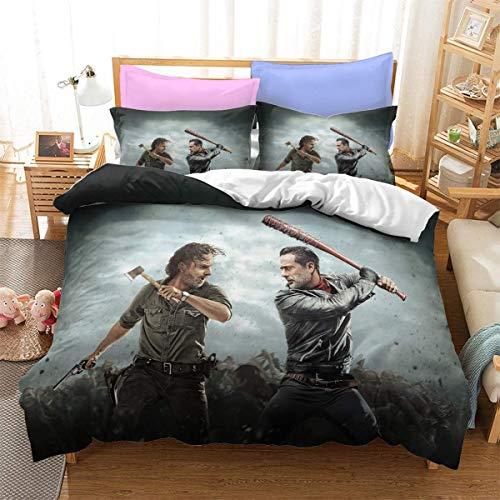 AQEWXBB Juego de ropa de cama de The Walking Dead, 3 piezas, un regalo favorito para los fanáticos del cine, funda de almohada de 80 x 80 cm (Dead -1,220 x 240 cm + 50 x 75 cm x 2)