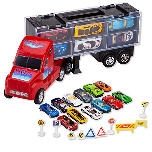 JOYIN Transport Car Carrier Toy Truck Includes 12 Die-cast Toy Cars, 10 Accessories; Truck Carrier Fits 12 Toy Car Slots, Great Car Toys for Kids