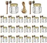 Ahhute Paquete de 20 tarros hexagonales de miel de cristal con tapa dorada, colgantes de abeja, perfectos para baby shower, recuerdos de boda, regalos de fiesta…