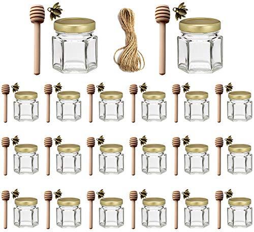 Ahhute 1,5 oz paquet de 20 mini pots à miel en verre hexagonaux avec louche en bois, couvercle en or, pendentifs d'abeille - parfait pour la douche de bébé, les faveurs de mariage, les faveurs de fête
