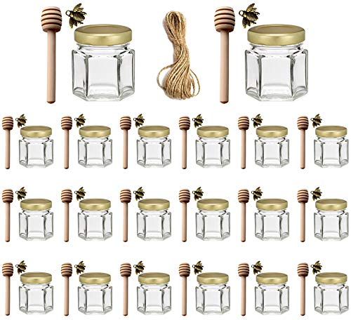 Adabocute 1.5 oz 20 pack Hexagon Mini Glass Honey Jars with Wood Dipper, Gold Lid, Bee Pendants, Jute - Perfect for Baby Shower, Wedding Favors, Party Favors
