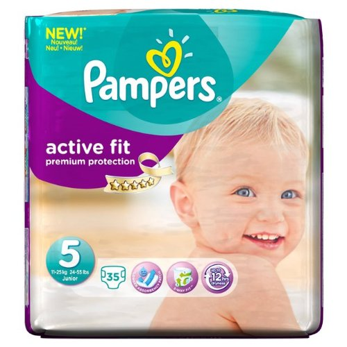 Pampers Active Fit tamaño 5 Essential Pack 35 por paquete.